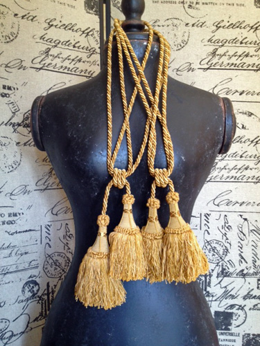 Antique French  Silk Gold Tassel Tiebacks