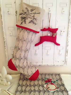 Harlequin Linen Christmas Stocking