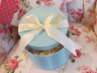 French Blue Hat Box