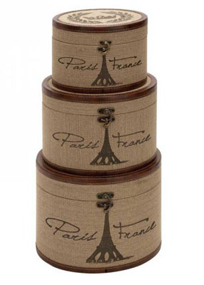 Eiffel Tower Burlap Hat Boxes