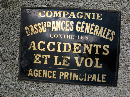 Black And Gold Vintage French Enamel Sign