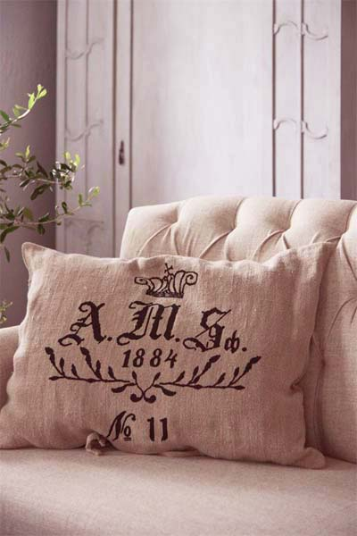 A.M.S. Linen Pillow Cover