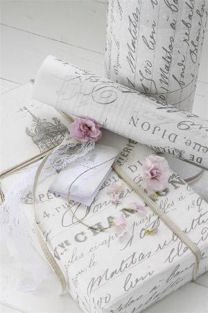 French Script Gift Wrap Roll