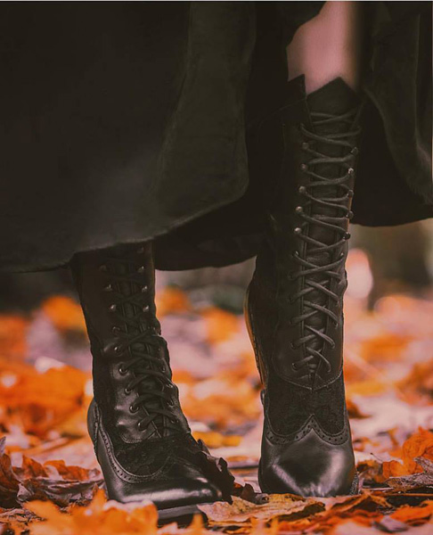 Oak Tree Farms Leather and Lace Victorian Style Boots