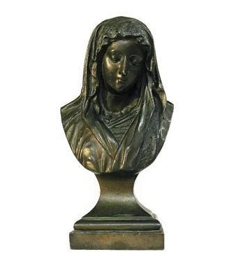 Antique Mary Bust Bronze Statuette