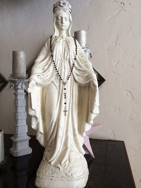 Mary Statue French Rosary And Crown