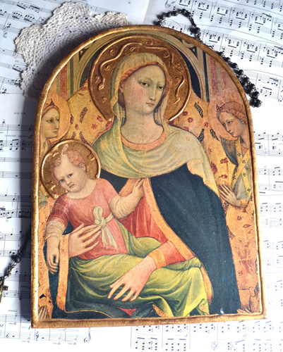 Vintage French Virgin Mary Church Panel