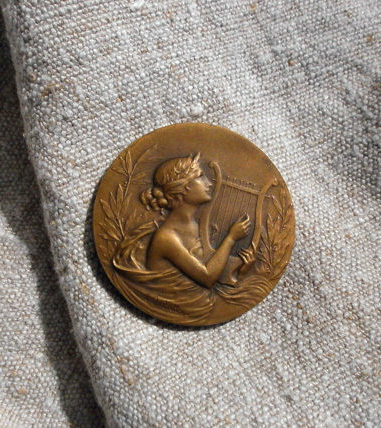 French Bronze Musical Medallion