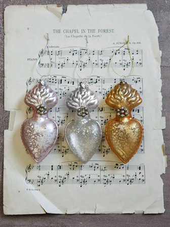 Mercury Glass Heart Decorations