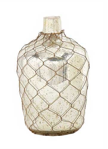 Mercury Glass Vase With Netting