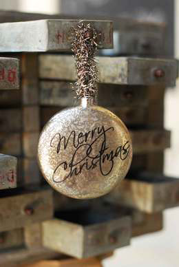 Merry Christmas Mercury Glass Ornament