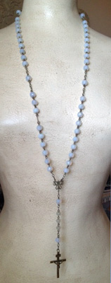 Antique French Rosary Iridescent Beads