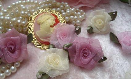 Handmade Organza Ribbon Roses