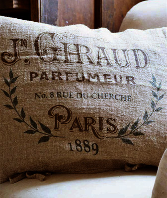 Paris 1889 Perfume Pillow Slip Linen