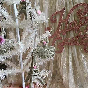 Paris Ballet Glitter Ornaments I