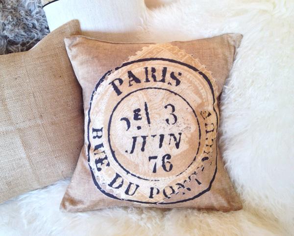 Paris Stamp Pillow Slip