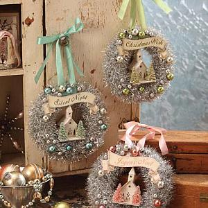 Bethany Lowe Pastel Wreath Decorations With Churches