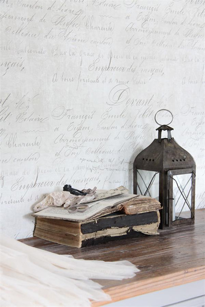 French Script Patina Wallpaper