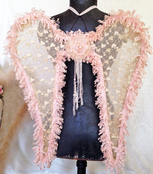 Shabby Pink Angel Wings