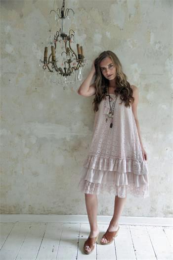 Pink Boho Lace Dress