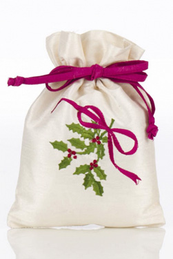 Pink And Ivory Christmas Gift Bag