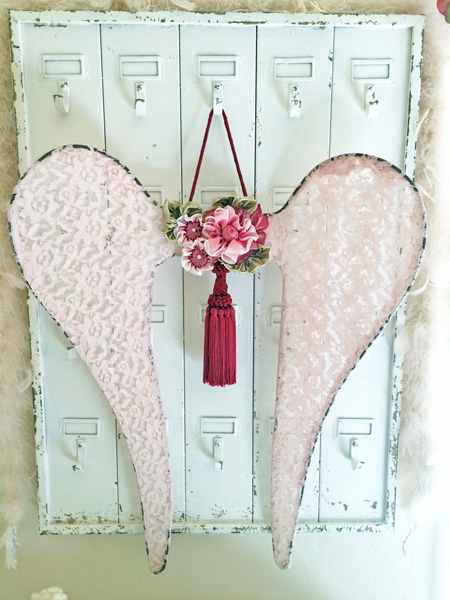 Pink Lace Ribbonwork Angel Wings