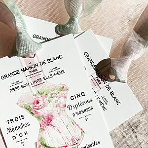 Pink Roses French Script Corset Tags