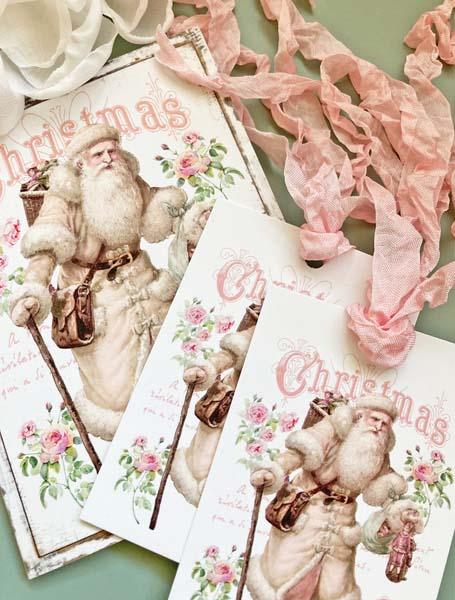 Victorian Pink Santa Card