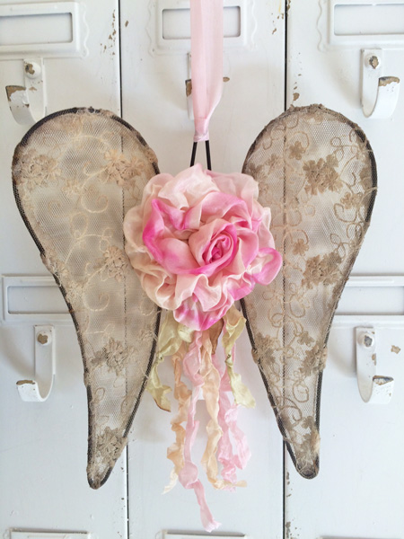 Pink Silk Ribbon Rose Angel Wings