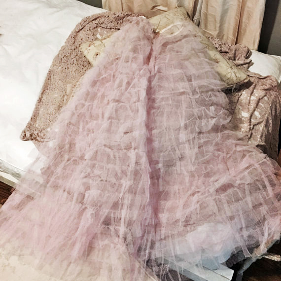 Vintage Ruffled Pink Tulle Skirt