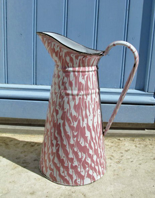 French Pink And White Enamel Pitcher