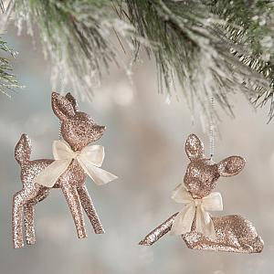 Pink Fawn Ornament Christmas Set