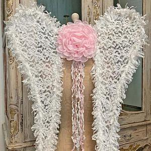 Pink And White Tulle Lace Angel Wings