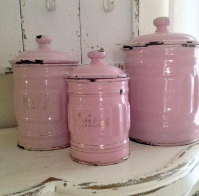 Pink Enamel Canisters French And Vintage
