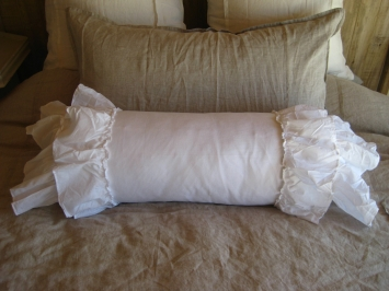 Ruffled White Bolster Pillow