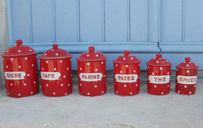 Vintage Red French Enamel Canisters