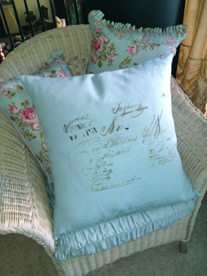 French Script Blue Linen Pillow