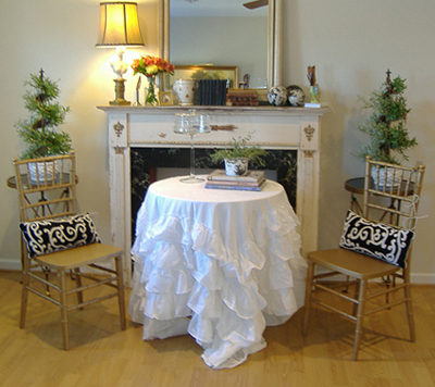 Ruffled White Tablecloth TWO SIZES