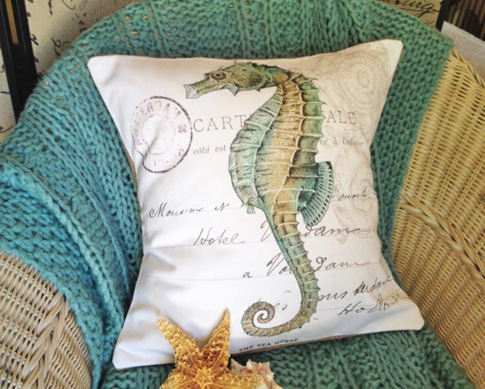 Beach Cottage Sea Horse Cover