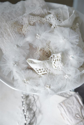 Small Vintage Wedding Wreath With Pearls