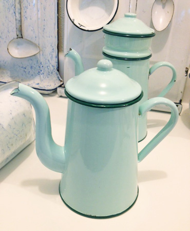 Aqua Mint Green French Coffee Pot 1930's