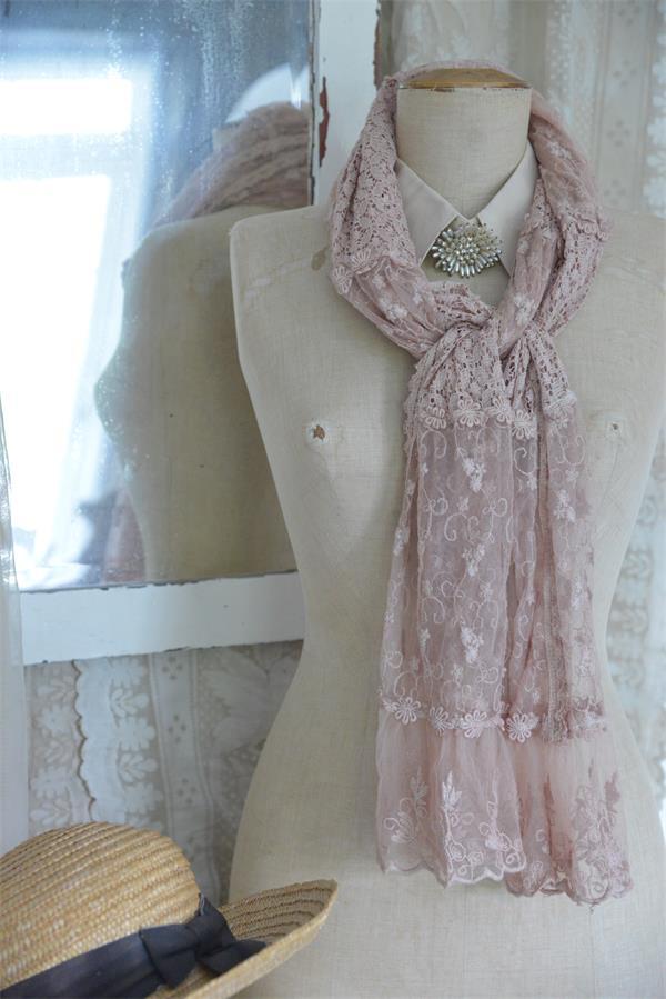 Vintage Tea Rose Lace Scarf