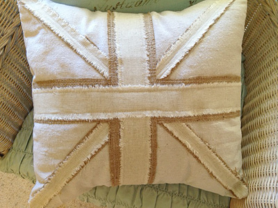 Union Jack Pillow With Burlap