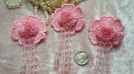 Pink Venise Lace Flower Ribbon Cabbage Rose