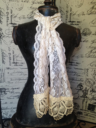 Vintage Lace Scarf Tea Dyed