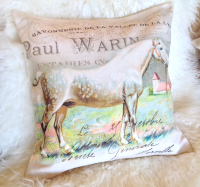 French Horse Pillow Slip Cover