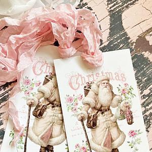 Victorian Pink Santa Gift Tags