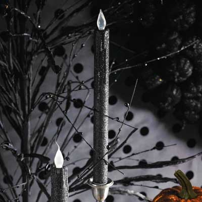 Black Glitter Taper Candles