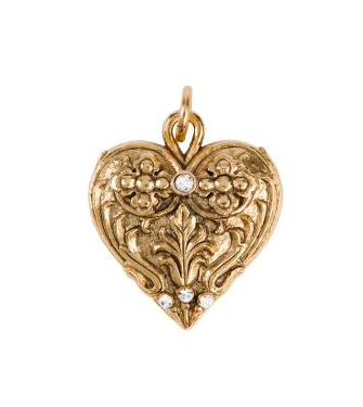 Heart Charm With Crystals Silver or Gold