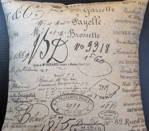 French Script Paris Document Pillow Slip